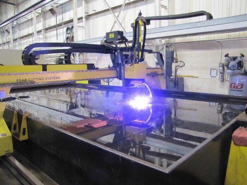 Plasma Cutter Working on Steel Plate