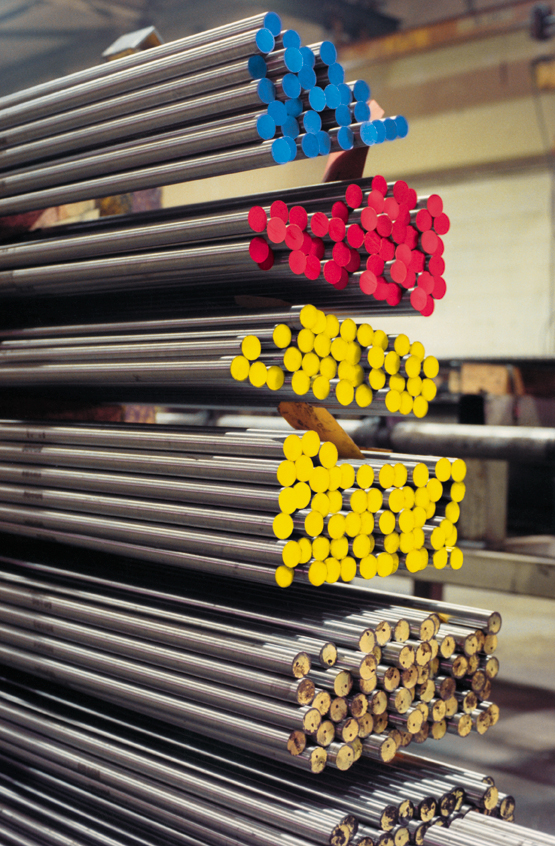 Blue Yellow and Red Drill Rods Stacked